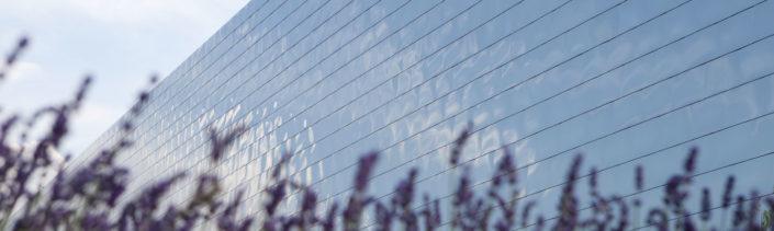 metallisch-glänzende Fassade des König Metall Gebäudes mit Lavendel im Vordergrund