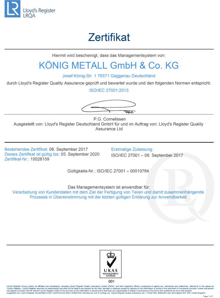 LRQA Zertifikat, Prüfung des Managementsystems von König Metall