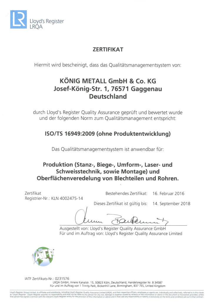 LRQA Zertifikat, Prüfung des Qualitätsmanagementssystems von König Metall