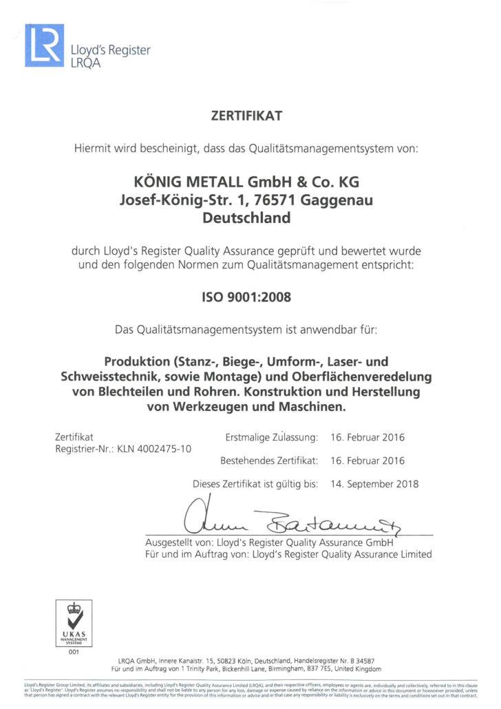 Zertifizierung - KÖNIG METALL - Qualität bis ins kleinste Detail