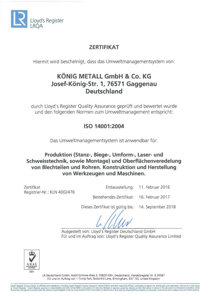 LRQA Zertifikat ISO 14001:2004, Prüfung des Umweltmanagementsystems von König Metall
