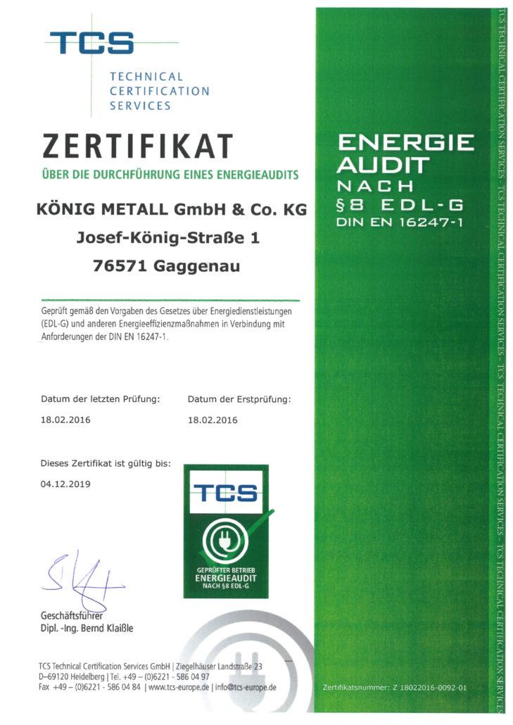 Energieaudit Zertifikat über die Durchführung eines Energieaudits (18.02.2016)
